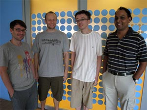 Photograph of CQT researchers Iordanis Kerenidis, Troy Lee, Penghui Yao and Rahul Jain