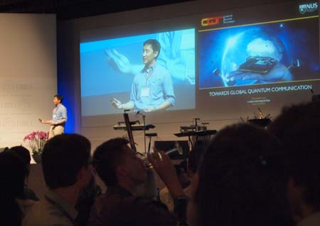 CQT Principal Investigator Alexander Ling giving a presentation at the 62nd Lindau Nobel Laureate Meeting.