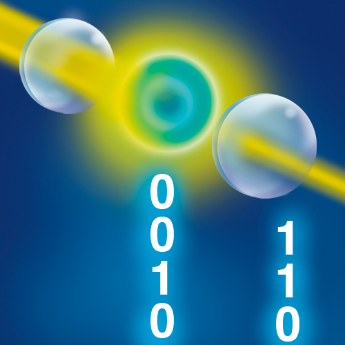 Graphic of Bell test on atom and laser beam in an optical cavity