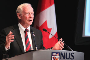 Photograph of H.E. Johnston, Governor General of Canada, delivering a speech at the National University of Singapore in 2011.
