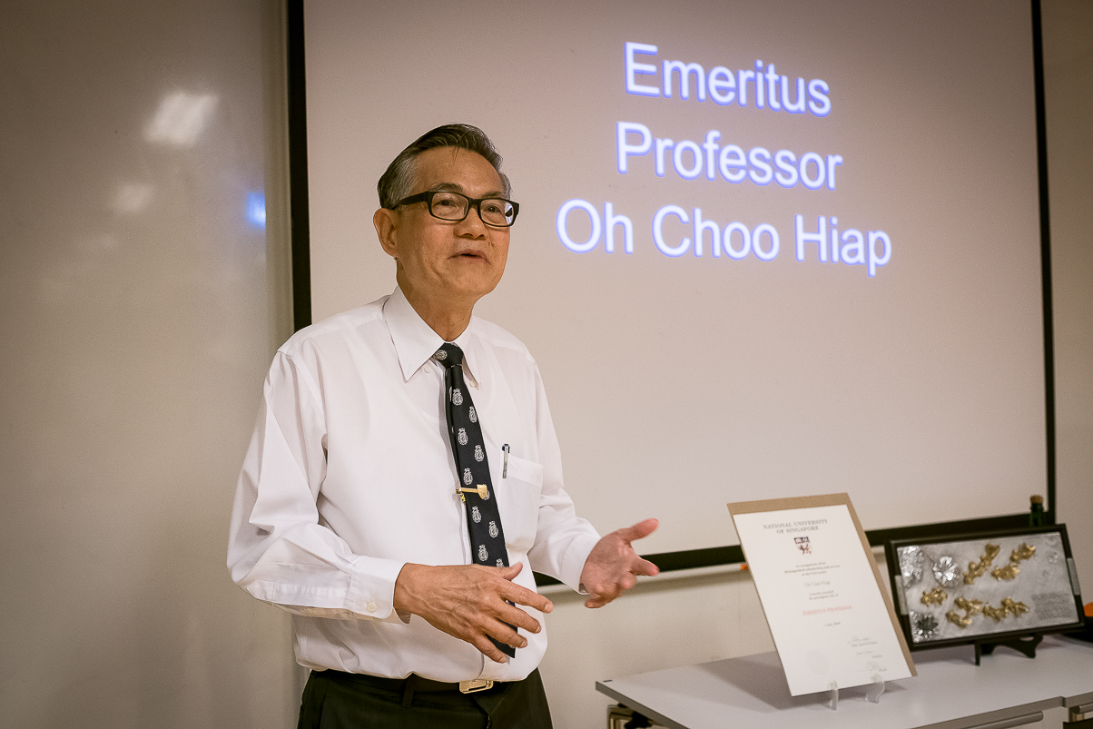 Oh Choo Hiap at the ceremony where his emeritus professorship was announced.
