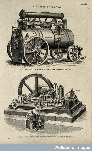 Engraving of a steam engine from the Wellcome images library