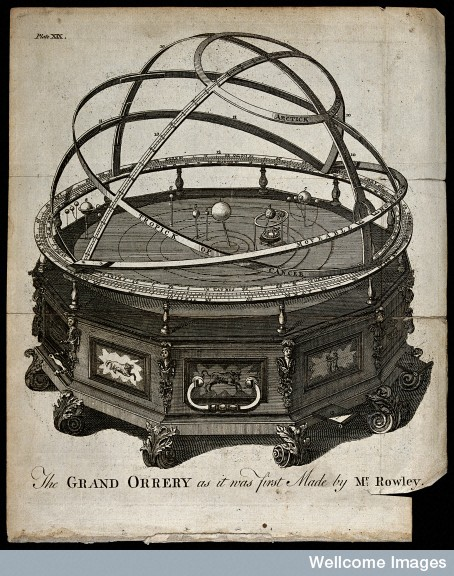 Astronomy: a large orrery, mounted on a dodecahedral base, decorated with signs of the zodiac. Engraving after B. Martin