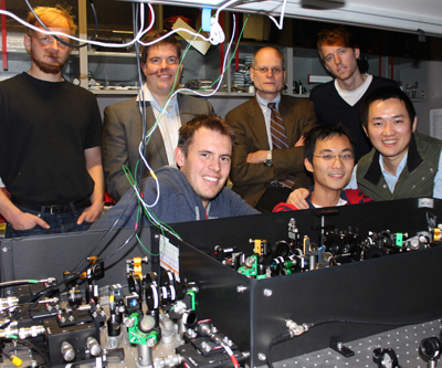 Some of the 12 researchers who entangled diamond at room temperature, including Ian Walmsley, Dieter Jacksh and Xian-Min Jin.